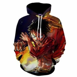 One Piece Cool Pirate King Luffy Pistol Skill Hoodie