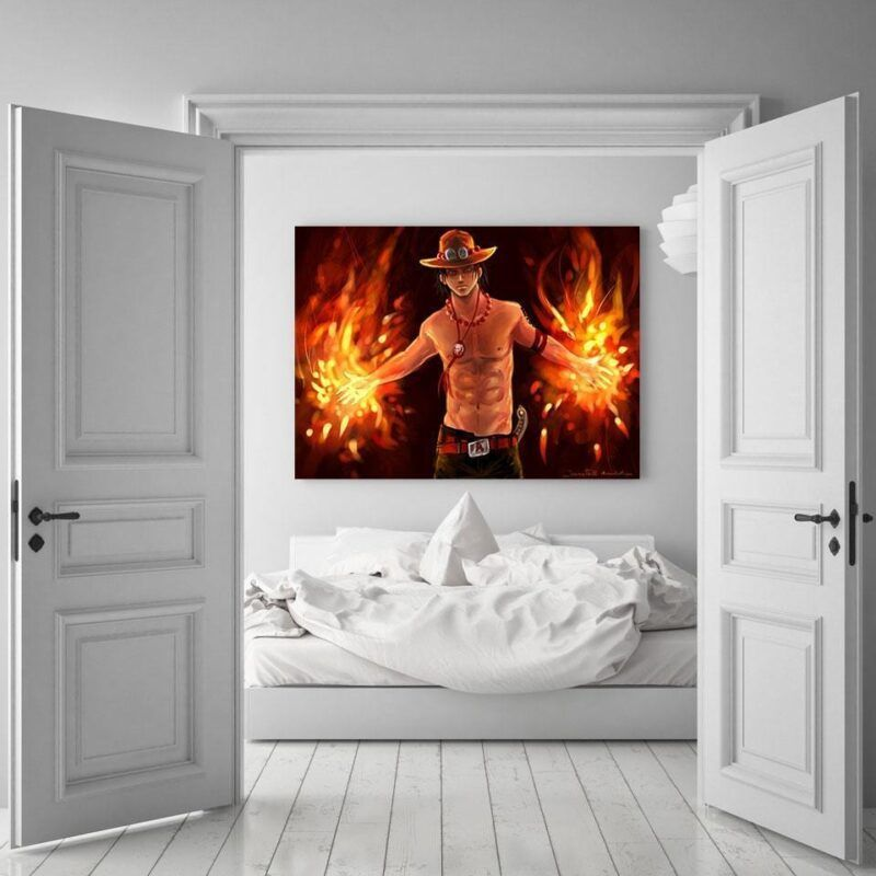 One Piece Cool Portgas D. Ace Fire Fist Orange 1pc Wall Art