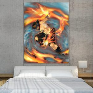 One Piece Fiery Ace Fire Fist Battle Fight 1pc Canvas Print