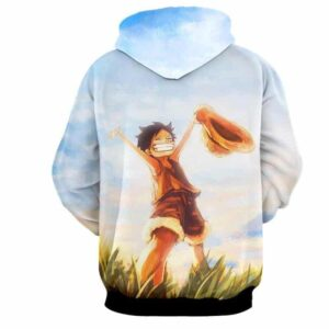 One Piece Happy Young Monkey D. Luffy Sunset Scenery 3D Hoodie