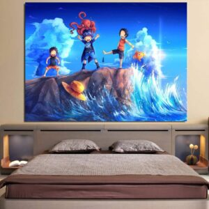 One Piece Kid Luffy Ace Sabo Happy Playing Blue 1pc Wall Art