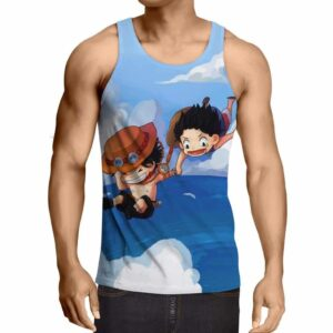One Piece Luffy Ace Brother Jump Chibi Draw Style Design Tank Top