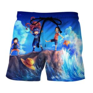 One Piece Monkey D Luff Ace Sabo Happy Playing Kids Boardshorts