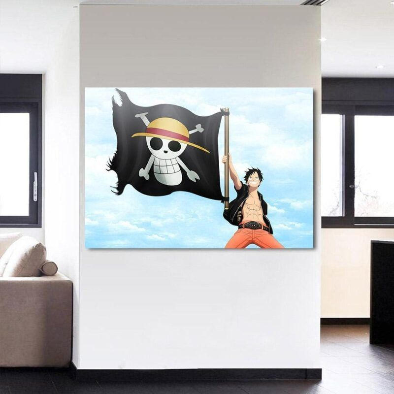 One Piece Monkey D Luffy Straw Hat Pirate Logo 1pc Wall Art