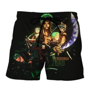 One Piece Roronoa Zoro Kid Grown Up Swordman Black Boardshorts