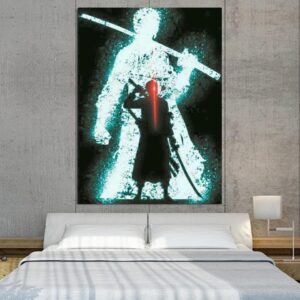 One Piece Roronoa Zoro Swordsman Silhouette 1pc Canvas Print
