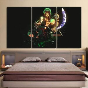 One Piece Roronoa Zoro Swordsman Timeline Black 3pcs Wall Art