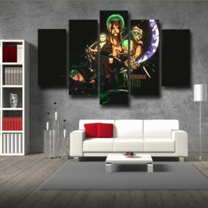 One Piece Roronoa Zoro Swordsman Timeline Black 5pcs Wall Art