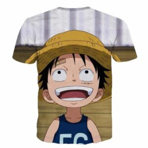 One Piece Super Cute Smiling Happy Young Straw Hat Luffy 3D T-Shirt