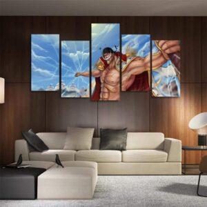 One Piece Whitebeard Broken Glass Effects Blue 5pcs Wall Art