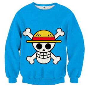 One Piece Straw Hat Pirate Logo Awesome Blue Sweatshirt