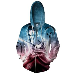 Sasuke Uchiha Wielding Sword Sketch Style Zip Up Hoodie
