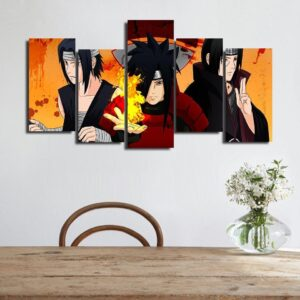 Uchiha Sasuke Madara Itachi Orange Asymmetrical 5pcs Wall Art