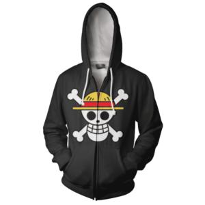 One Piece Straw Hat Pirates RWBY Qrow & Ruby Scythes Zip Up Hoodie