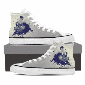 Sasuke Uchiha Art Work Dope Anime Design Gray Sneakers Shoes