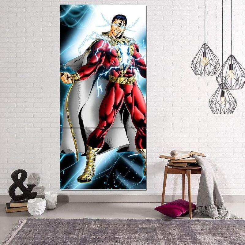 Captain Marvel Electrifying Vertical 3pc Wall Art Canvas Print
