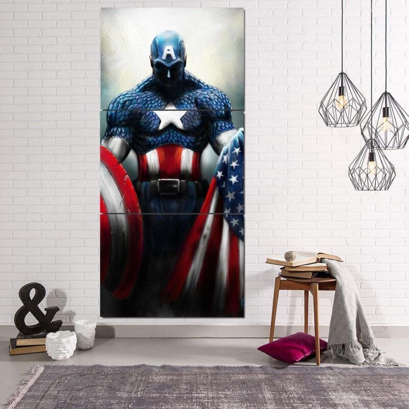 Captain America Shield Flag Paint Art 3pcs Canvas Vertical