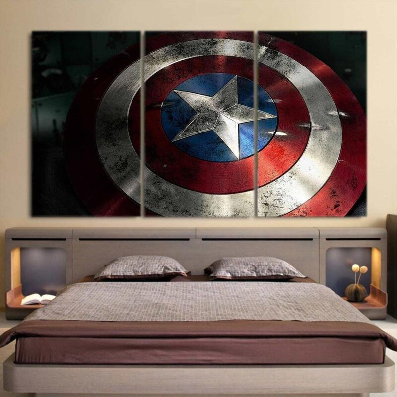 Captain America Powerful Shield 3D 3pcs Canvas Horizontal