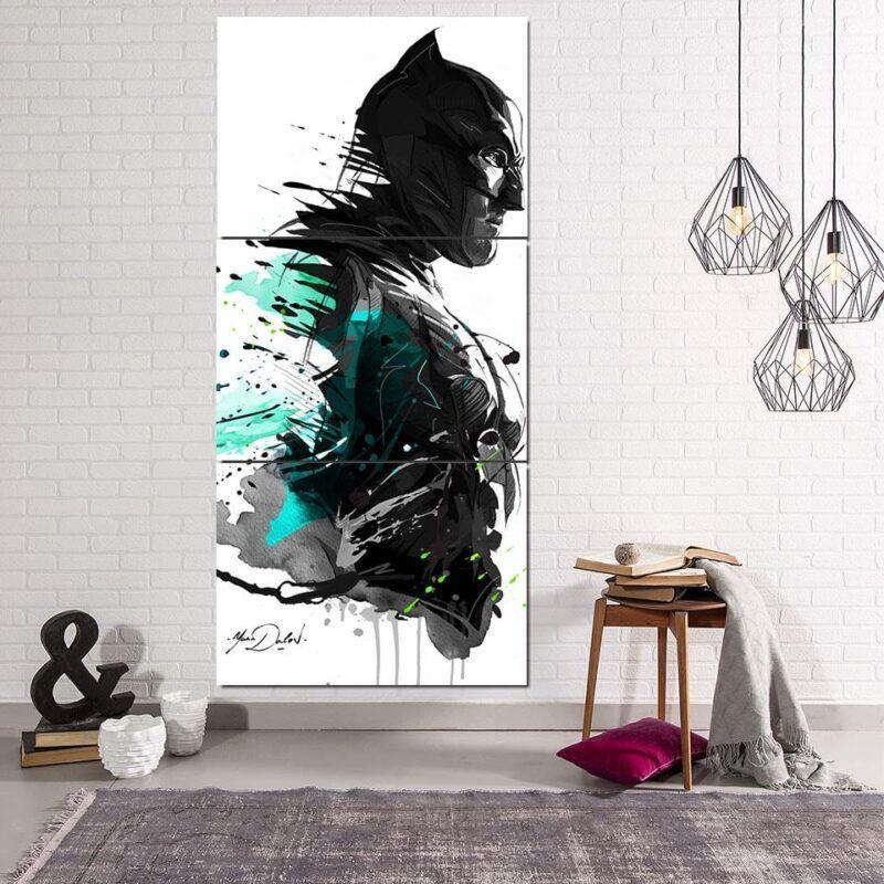 Cool Paint Art Design Batman Print On White 3pcs Canvas Vertical - Superheroes Gears