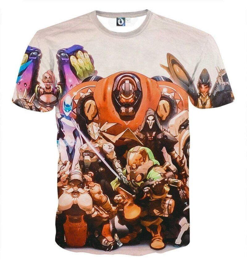 Overwatch All Character Action Comic Style Poster T-Shirt