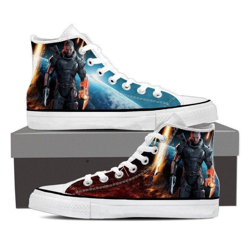 Mass Effect Captain Shepard Galatic Converse Sneaker Shoes