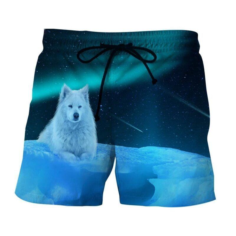 Arctic Wolf On Iceberg Starry Night Sky Stylish Boardshorts