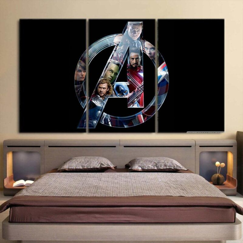 Marvel The Avengers Cool Symbol Superheroes 3Pcs Canvas Print