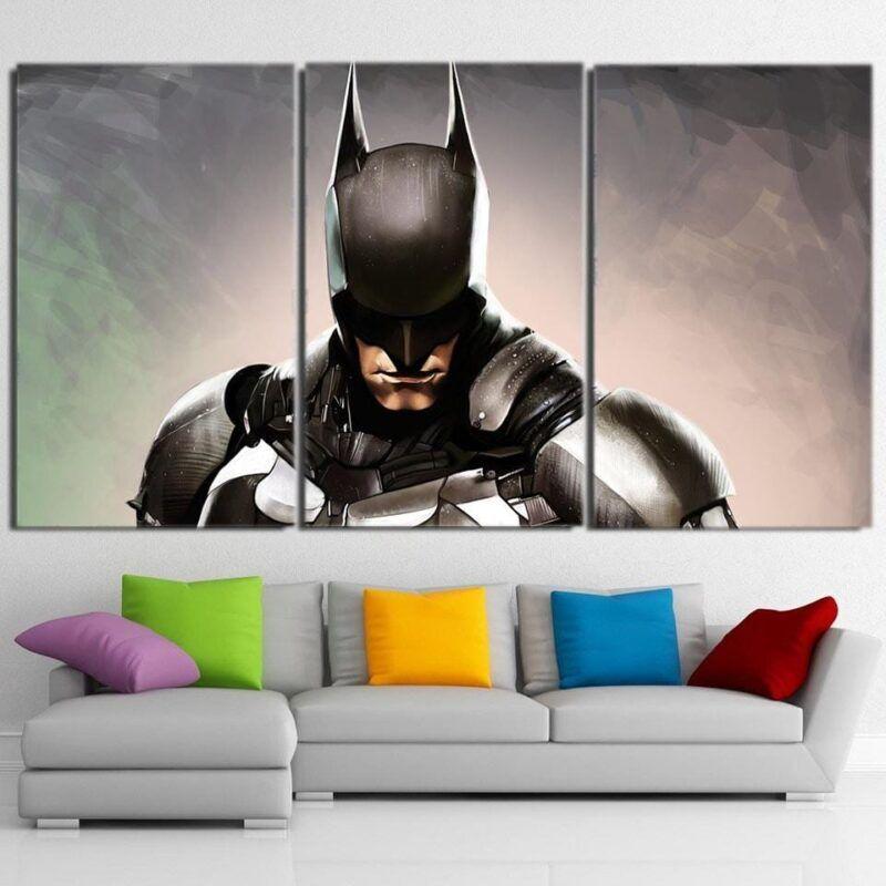Batman Realistic Half Body Portrait 3pcs Canvas Horizontal - Superheroes Gears
