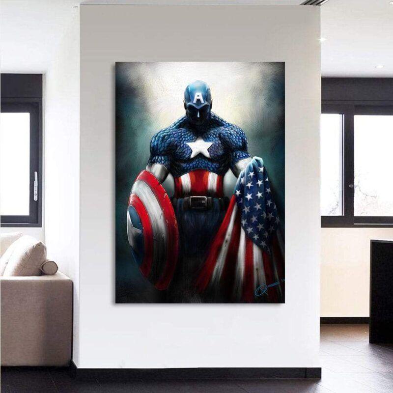 Captain America Shield Flag Paint Art 1pc Vertical Canvas