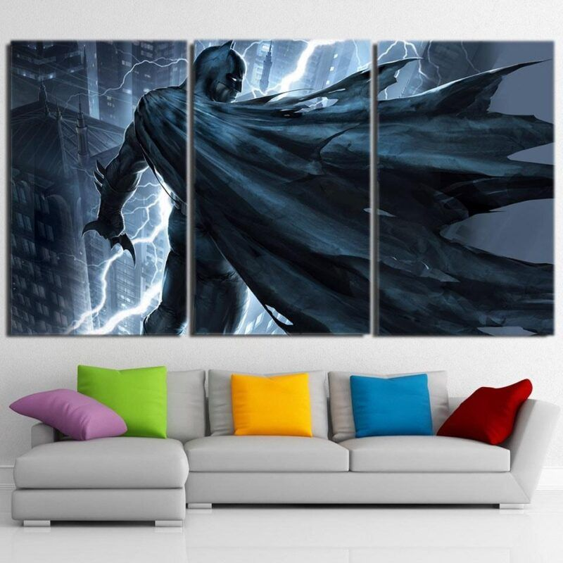 Batman Standing Under The Thunderlight 3pcs Canvas Horizontal - Superheroes Gears