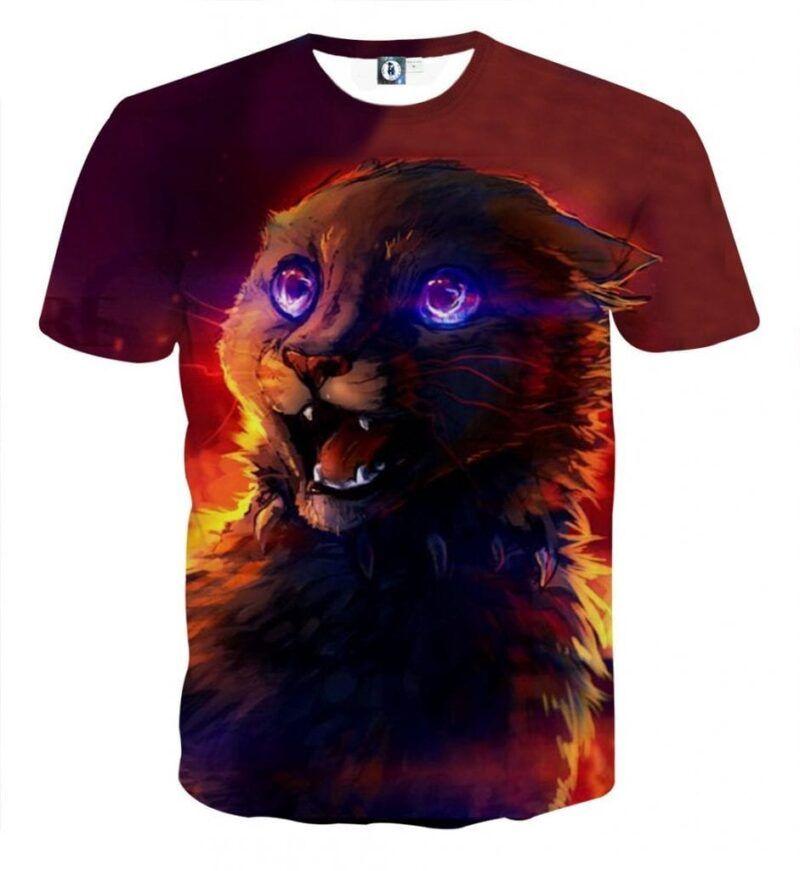 Frightening Cat Eyes Dark Shadow Cool Warm Shade T-Shirt - Superheroes Gears