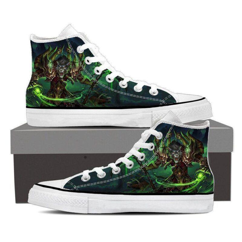 World of Warcraft Worgen Warlock Fan Art Cool Sneaker Converse Shoes