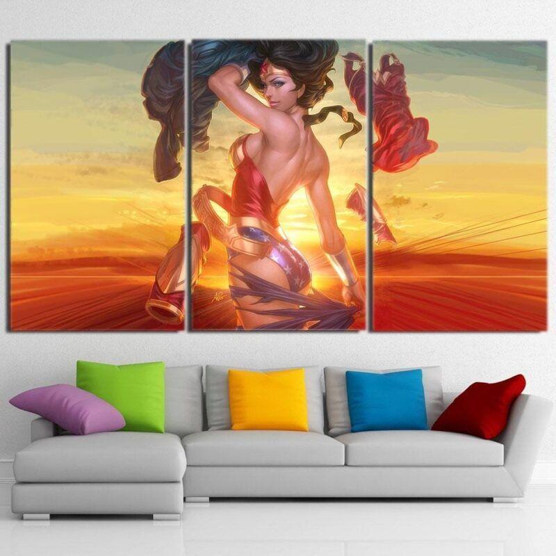 Daring Wonder Woman 3D Animated Print On Sunset Pose 3pcs Canvas Horizontal