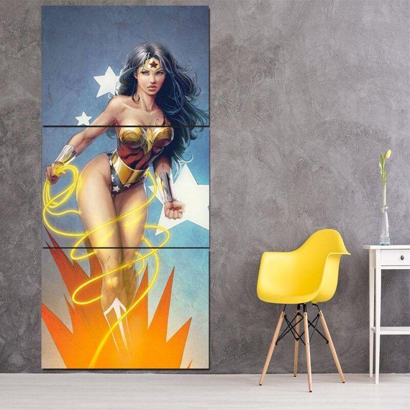 DC Comics Sexy Wonder Woman Golden Lasso Light Blue 3 Pcs Canvas Vertical