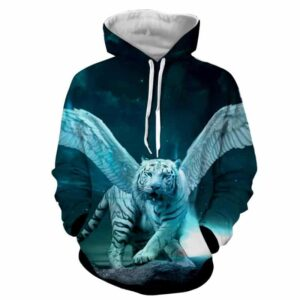Majestic Tiger With Wings Fantasy Dope Vibrant Blue Hoodie