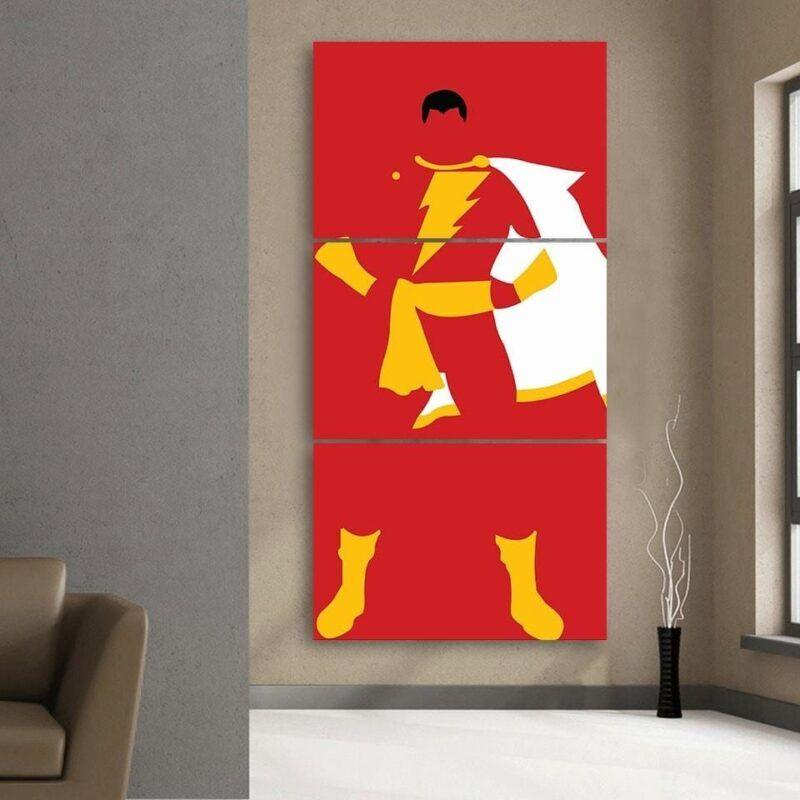 Captain Marvel Shazam Superhero Simple 3pc Wall Art Canvas Print