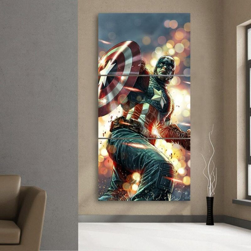 Cartoonized Captain America On Glowing 3 Pcs Canvas Vertical