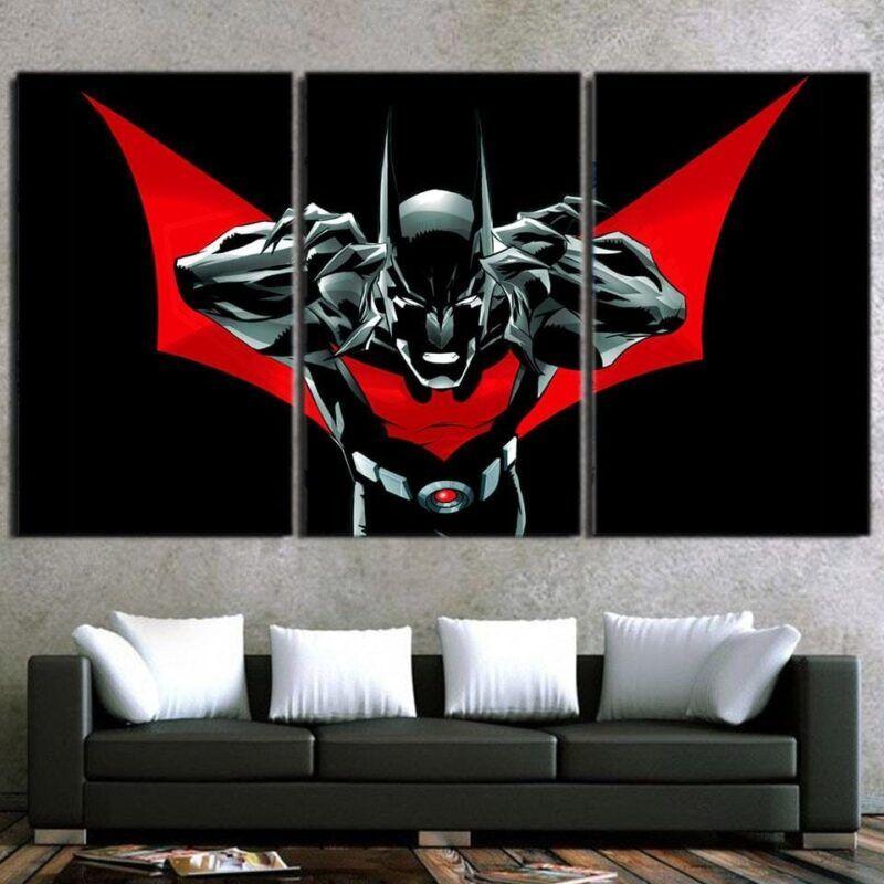 Batman Character On Red Label Black Cool Print 3pcs Canvas - Superheroes Gears