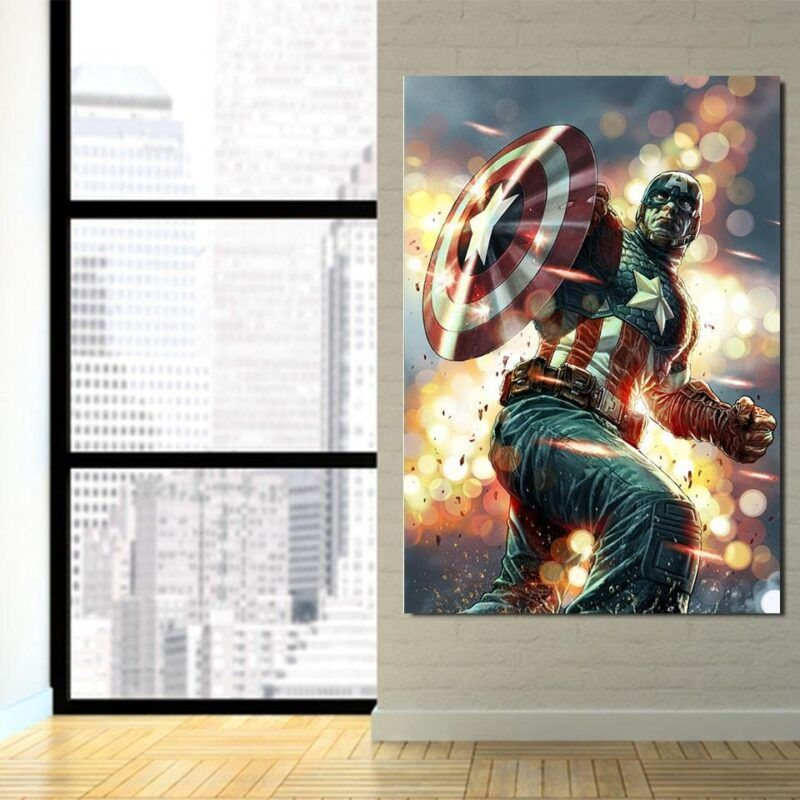 Cartoonized Captain America On Glowing 1pc Vertical Canvas