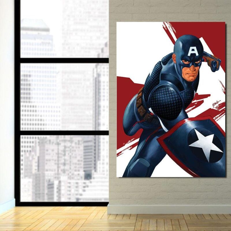 Captain America 3D Realistic Print White 1pc Vertical Canvas