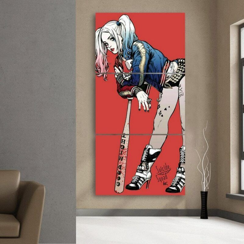 DC Comics Harley Quinn Wearing Jacket On Red 3pcs Vertical Canvas