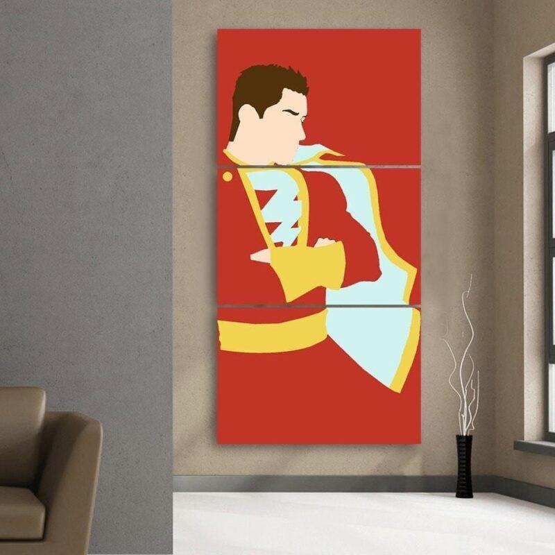 Captain Marvel Shazam Trendy Red 3pc Wall Art Canvas Print