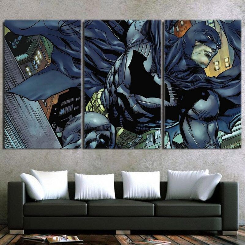 Cartoonized Batman Superhero Cool 3pcs Canvas Horizontal Style - Superheroes Gears