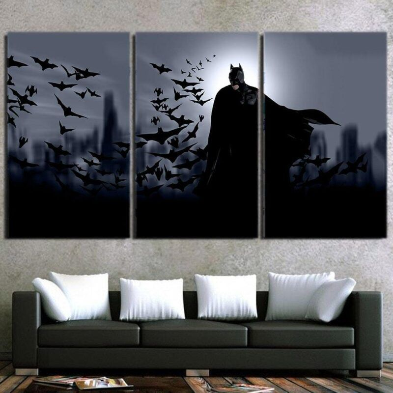 Batman With The Bats Silhouette On The Moon 3pcs Canvas - Superheroes Gears