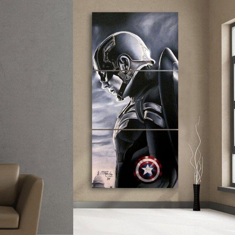Captain America Side Pose  Shield Cool 3pcs Canvas Vertical