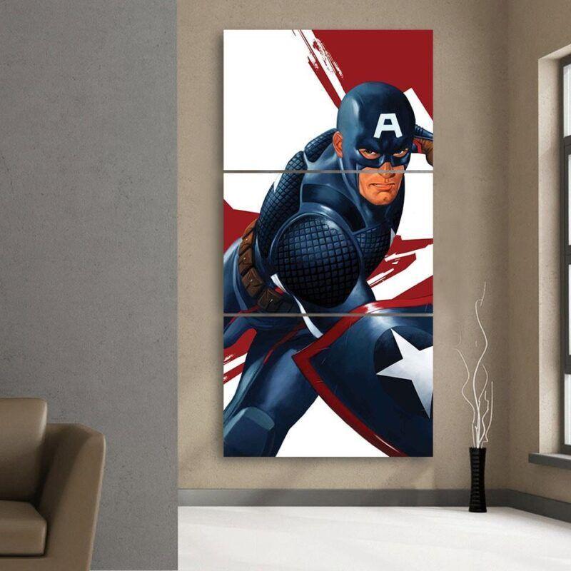 Captain America 3D Realistic Print 3pcs Canvas Vertical