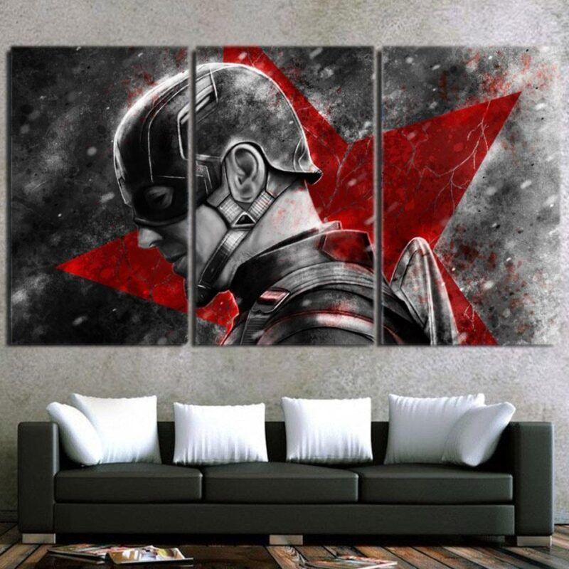 Captain America Vintage Side Portrait 3pcs Canvas Horizontal