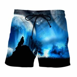 Wolf Howling To The Moon Impressive Silhouette Boardshorts
