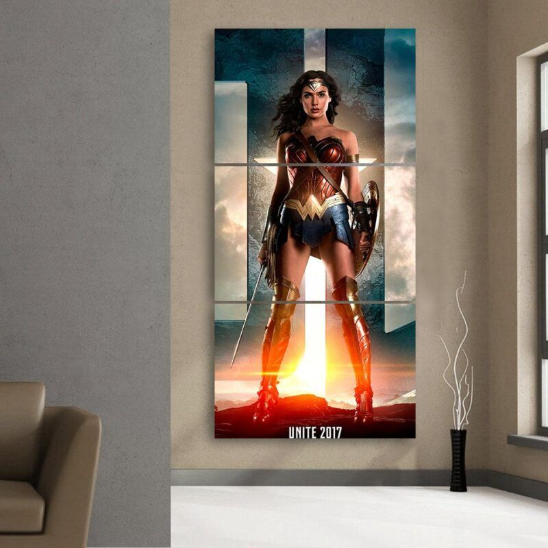 DC Comics Wonder Woman Gal Gadot Standing Fierce Cool 3 Pcs Canvas Vertical