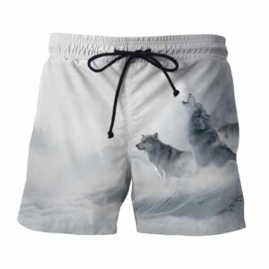 Wolves Roaring Loud Snowy Place Artistic Style Boardshorts